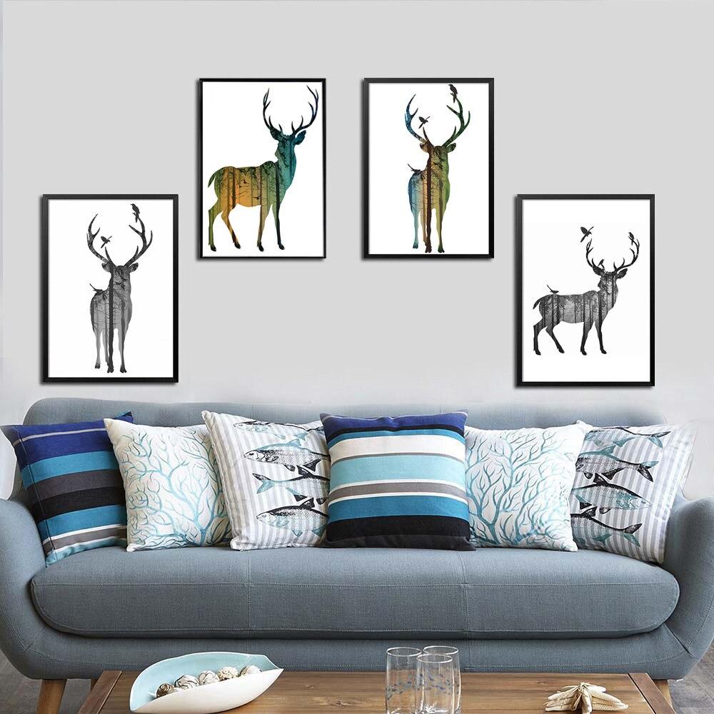 6 stílusos erdei szarvas család nyomtatás poszter rajzfilm állatok vászon festés A4 gyermek szoba művészet nappali fal kép lakberendezés