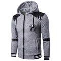 Hoodies Men 2017 Brand Male Long Sleeve Hoodie Leather Edge Splicing Sweatshirt Mens Cardigan Moletom Masculino Hoodie Tracksuit