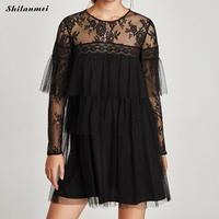 New arrival Spring Women lace hollow out Dress Vintage Summer transparent Long Sleeve Party club Dress Vestido wear to work top