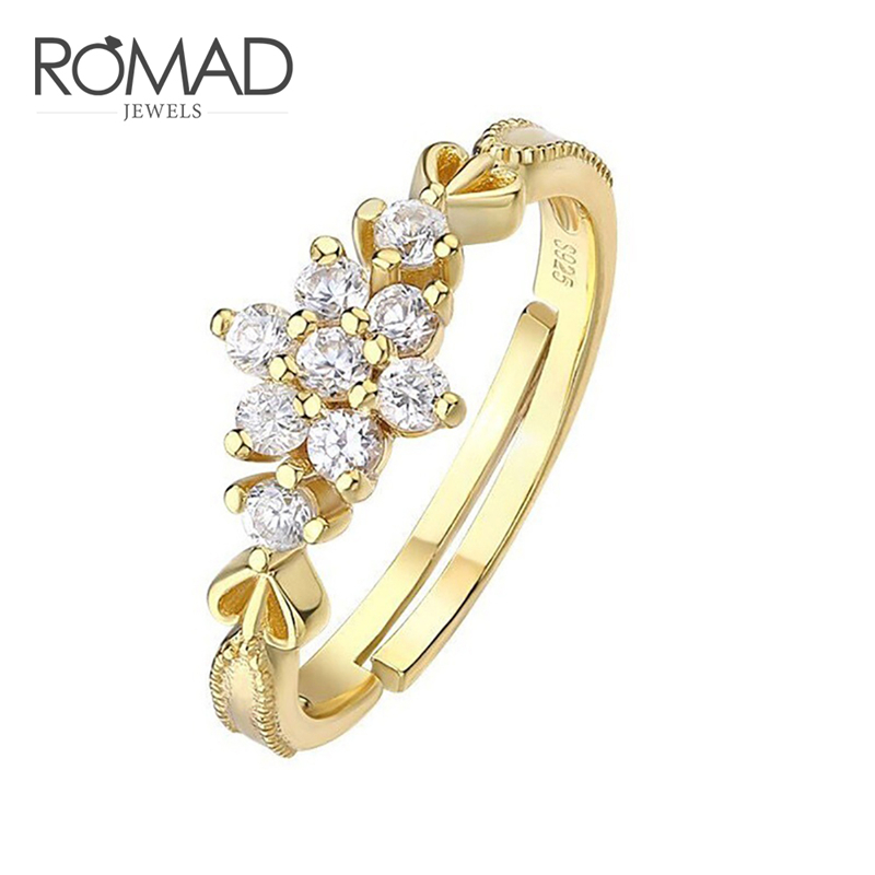 Creative Romad Dainty Cute Snowflake Delicate Crystal Zircon Wedding Rings Jewelry Female Dainty Engagement Ring For Women Adjustable R4 We Have Won Praise From Customers