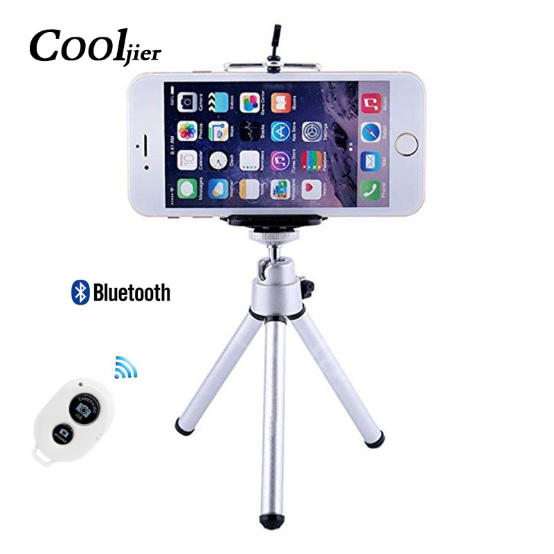 COOLJIER Flexible Mini Tripod With Remote Control For iPhone Lightweight Mini camera Tripod Rotatable Monopod With Phone Clip cell phone tripod with bluetooth remote control mobile phone selfie stick mini tripod for sport camera light monopod with clip