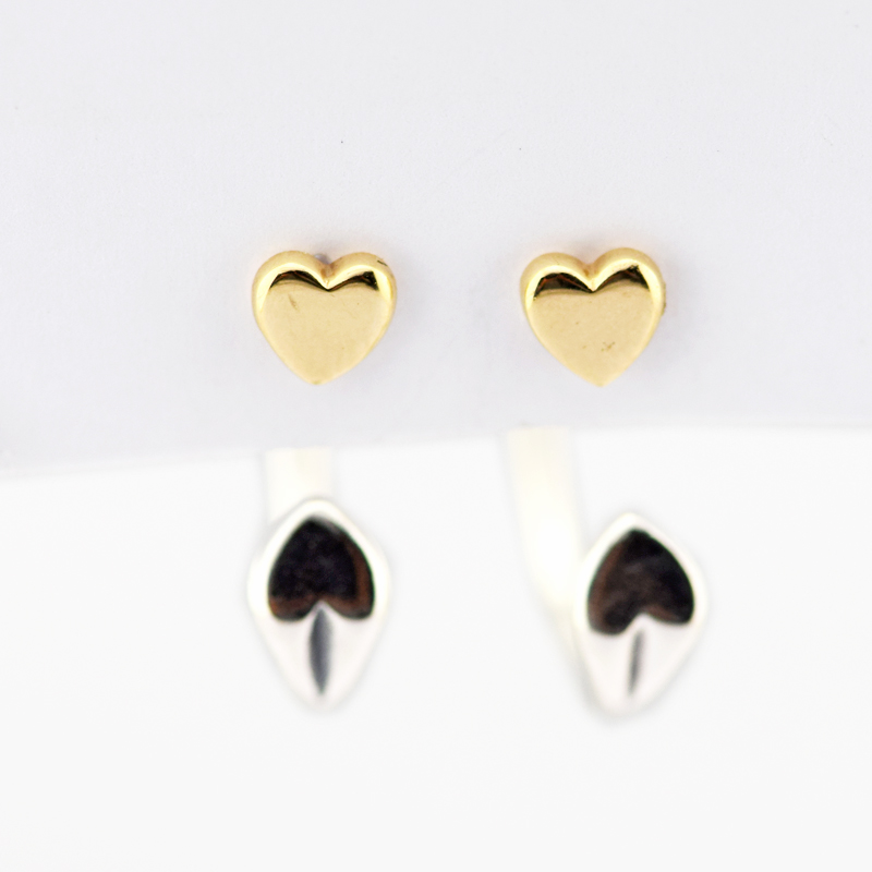 Authentic 925 Sterling Silver Two Hearts Hoop Earrings With 14K Real Gold for Women DIY Fine Jewelry SE111K