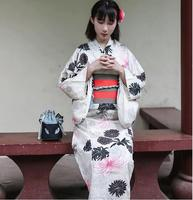 Japanese Standard kimono bathrobe suits traditional summer sacrifice Dress Lady Linen formal modified version kimono Beige Blue