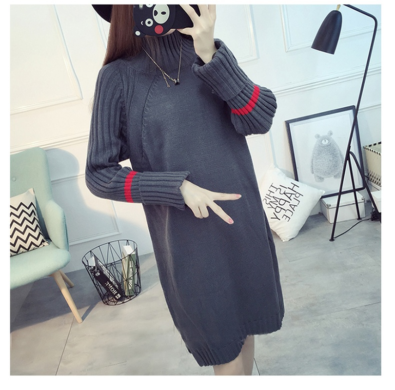 Maternity Clothes winter knitted sweater Dress Long sleeve loose pullover female Soft warm autumn casual Pregnancy Clothes fashion cotton padded maternity shirts autumn winter fashion thick knitted long sleeve pregnancy tops loose maternity clothes