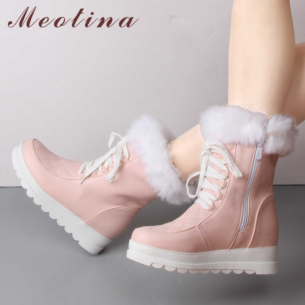 Meotina Winter Snow Boots Women Plush Mid Calf Boots Platform Wedge Heel Boots Zipper Real Rabbit Fur Shoes Pink Black 34-43