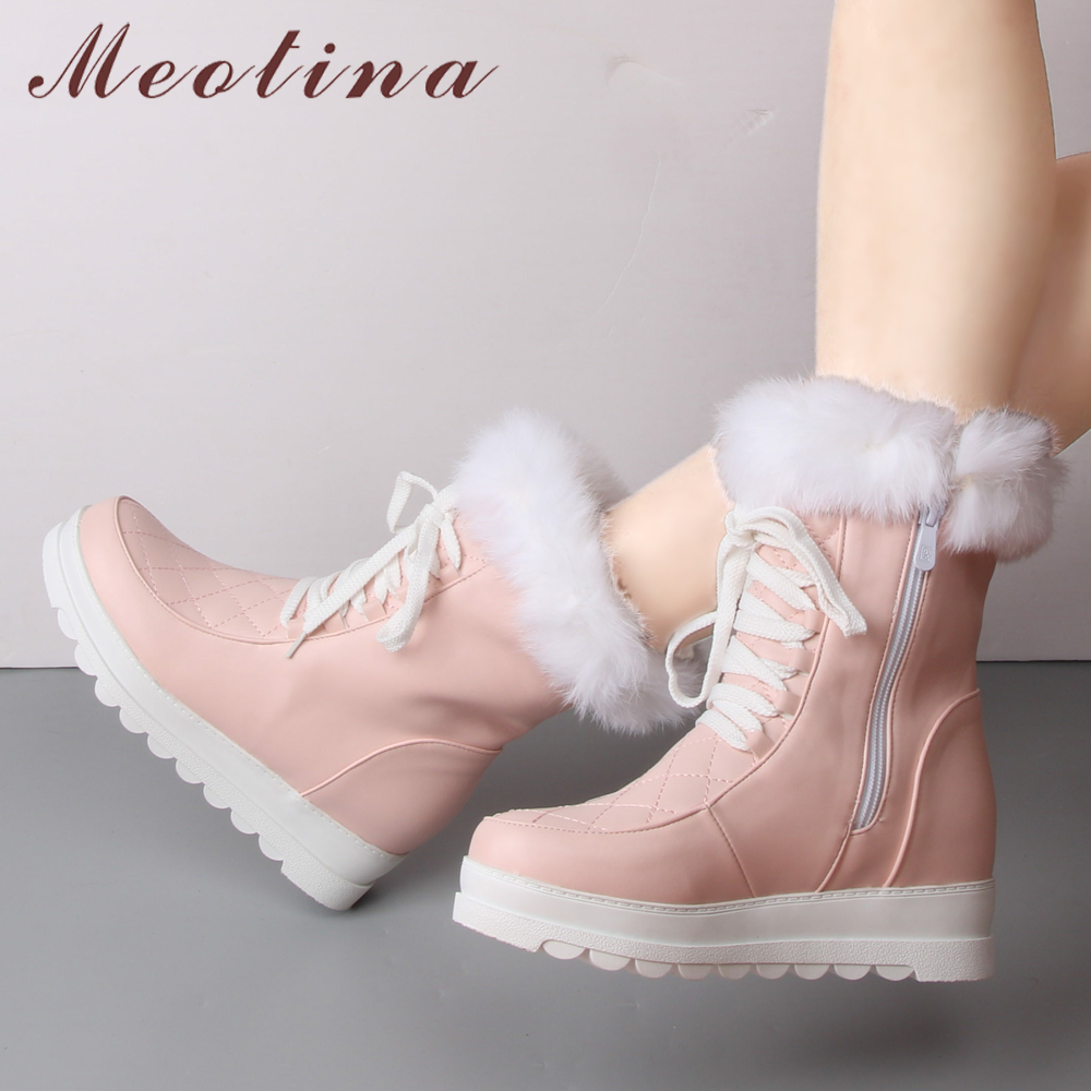 Meotina Winter Snow Boots Women Plush Mid Calf Boots Platform Wedge Heel Boots Zipper Real Rabbit Fur Shoes Pink Black 34-43 ss16 virtuoso 2016 playing cards new poker cards for magician collection card game