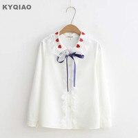 KYQIAO Japanese School Uniform 2018 Sweet Lolita Cosplay Shirt Mori Girls Sweet White Lace Peter Pan