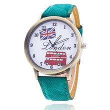 Vintage Jeans Strap Watch for Women Leather Bus UK Flags Watch