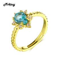 MoBuy MBRI023 Teardrop Natural Gemstone Green Apatite Ring 925 Sterling Silver 14K Gold Plated Adjustable Fine
