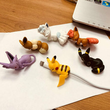 6pcs Mini Cable Bite Animal Cable Protector For IPhone Android Toys Little Pet Shop Eevee Meowth Snoelax Toys For Kids