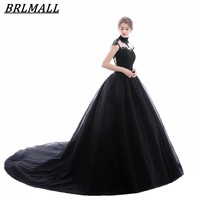 BRLMALL Stunning Black High Neck Wedding Dress Lace Appliques Ball Gown Backless Bridal Gowns Court Train