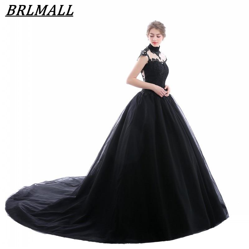BRLMALL Stunning Black High Neck Wedding Dress Lace