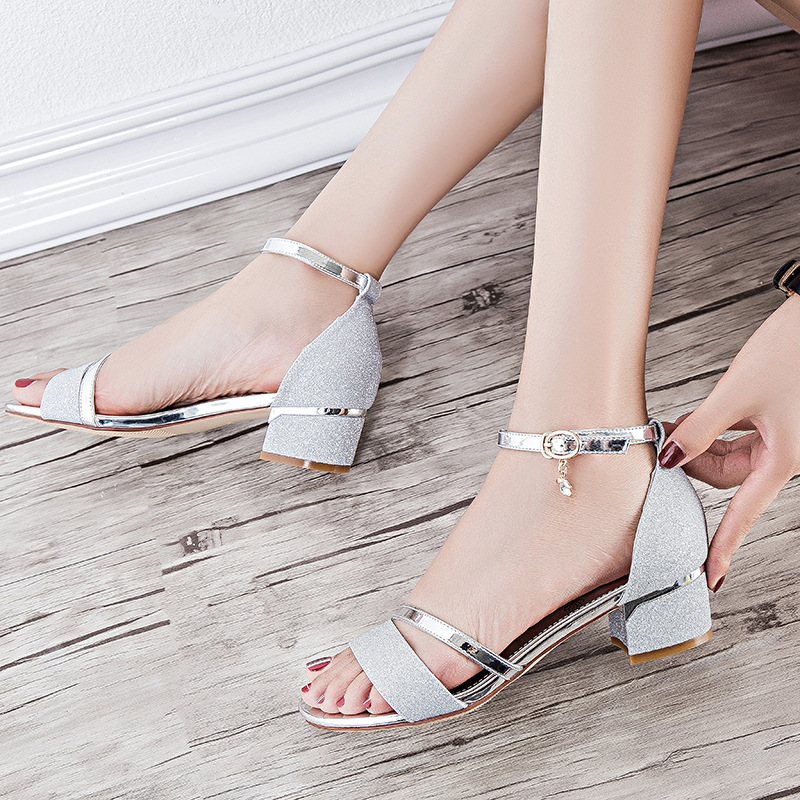 In the summer sandals diamond 2017 summer new fashion Roman shoes with her shoes with high heels