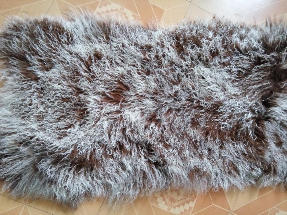 Lamb Fur แผ่นมองโกเลียขนสัตว์พรมพื้นที่พรมแผ่นผ้าห่มสำหรับห้องนอนตกแต่งบ้านพรมและพรมสำหรับห้องนั่งเล่นห้อง IOW 6