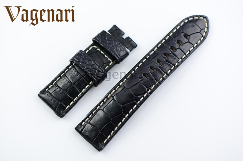 A190 Luxury Black Alligator Genuine Leather Watch Strap 24/22mm Watchband with Buckle  d 32 fashion purple red fish skin leather watch strap 24 22mm watchband with buckle