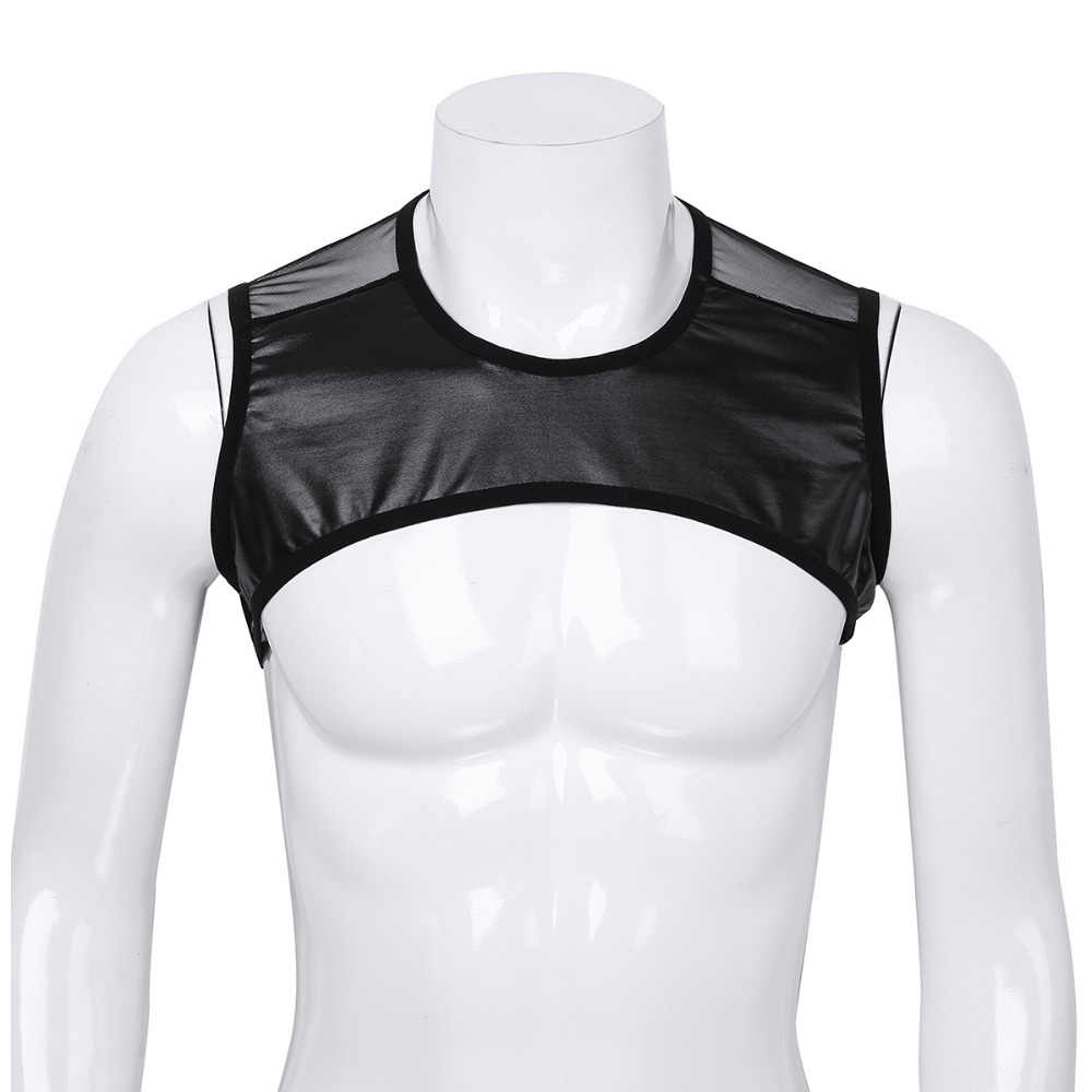 96f1b66a195e2 ... Mens Faux Leather Patchwork Sleeveless Sheer Mesh Muscle Half Tank Top  Vest Harness Clubwear Stage Performance ...