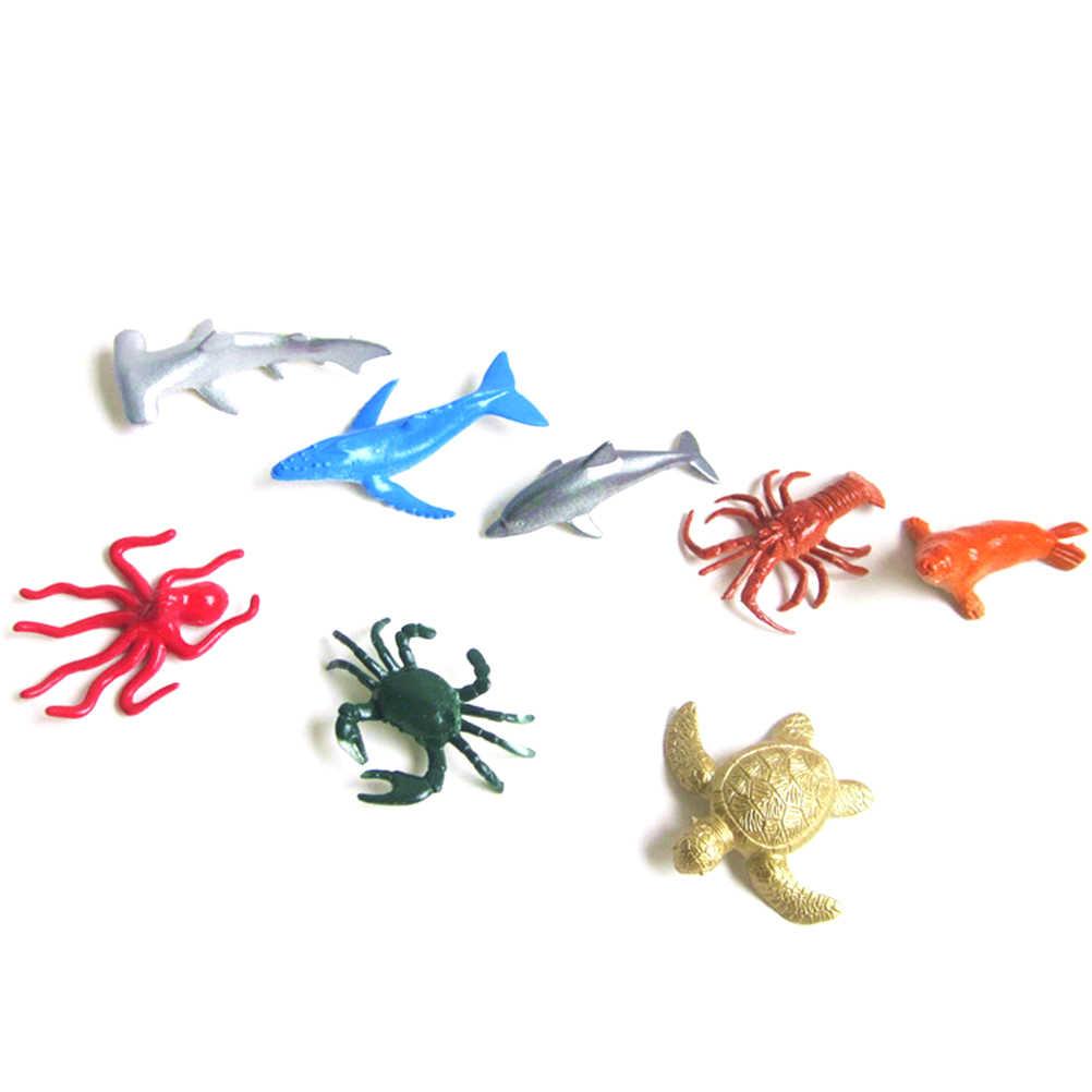8 pcs Tamanho Pequeno Sea Life Modelo Brinquedos Animais Do Mar Selo Tubarão Polvo Brinquedo Cedo Educação Animais Marinhos Figura Presente para As Crianças