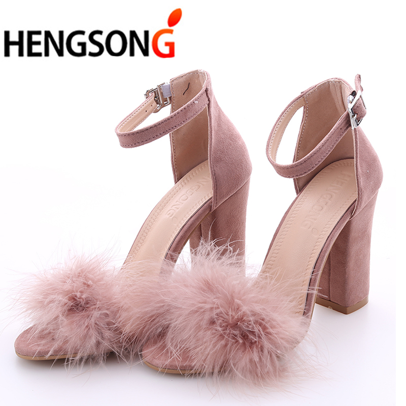 Ankle Strap Fur Sandals 2017 Fashion Suede High Heels Women Sandals Nude Heels Summer Shoes Ladies Party Sandals Plus Size 34-43 suede slingback 9 bling black women pointed toe large size summer flats rhinestone sandals ankle strap ladies beautiful shoes