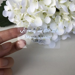 Image 4 - Silver Bridal Bubble Labels Personalized Tube Bottles Bubble wand Custom Favors Tags Sticker Clear (Bottle not included)