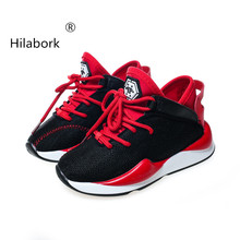 Hilabork 2018 autumn boys and girls breathable flying woven mesh shoes low  to help casual and 86f88bea08b9
