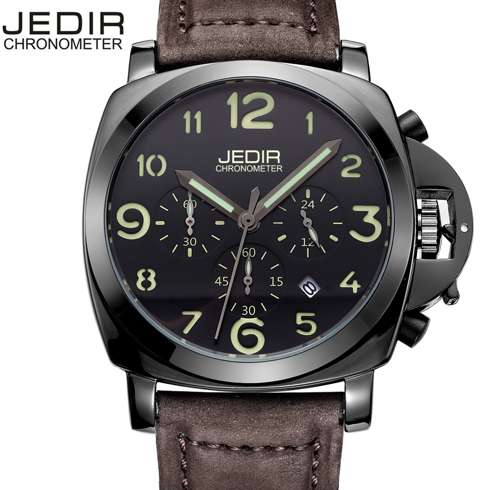 Black Watch Men Top Brand Multi Function Watches Male Chronograph Sports Genuine leather Men Watch Climbing Relogio Masculino genuine jedir quartz male watches genuine leather watches racing men students game run chronograph watch male glow hands