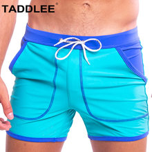 Taddlee marque Sexy hommes maillots de bain maillots de bain maillot de bain Boxer conseil surf slips Gay séchage rapide couleur unie avec poche Shorts(China)