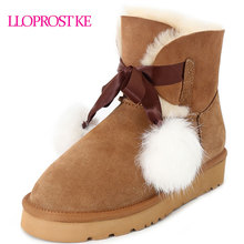 LLOPROST KE Women's Snow Boots Sweet Bowtie Ankle Boots Genuine Sheepskin Leather Wool Fur Warm Winter Boots Russia Shoes MY079