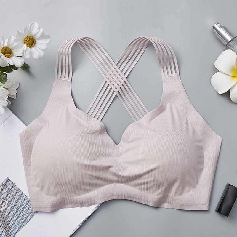 Women Shakeproof Sports Ice Silk Seamless Bra Wireless Fitness Absorb Sweat Beauty Back Summer Underwear
