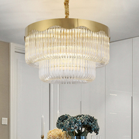 LED Modern Crystal Chandeliers Lighting Fixture Gold Crystal Chandelier Round Luxury Hotel Home Dining Room Living Room Lamps