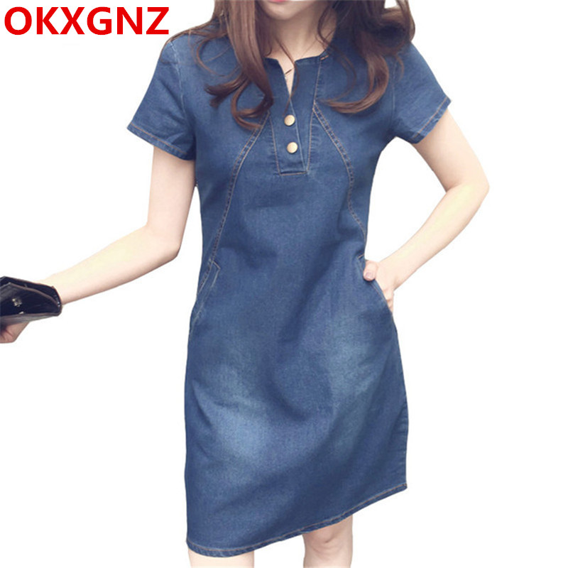 Korean Denim <font><b>Dress</b></font> For Women 2019 New Summer Casual <font><b>Jeans</b></font> <font><b>Dress</b></font> With Button Pocket <font><b>Sexy</b></font> Mini <font><b>Dress</b></font> Vestidos Plus Size S-5XL M98 image