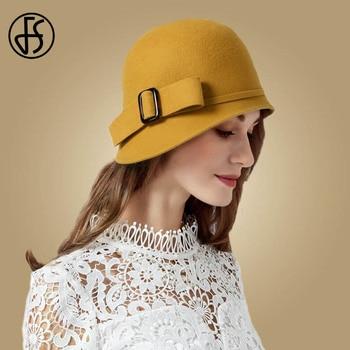FS Vintage Black Wool Felt Cloche Hat With Bowknot Wide Brim Bowler Winter Fedoras Ladies Yellow Blue Floppy Derby Hats Cap