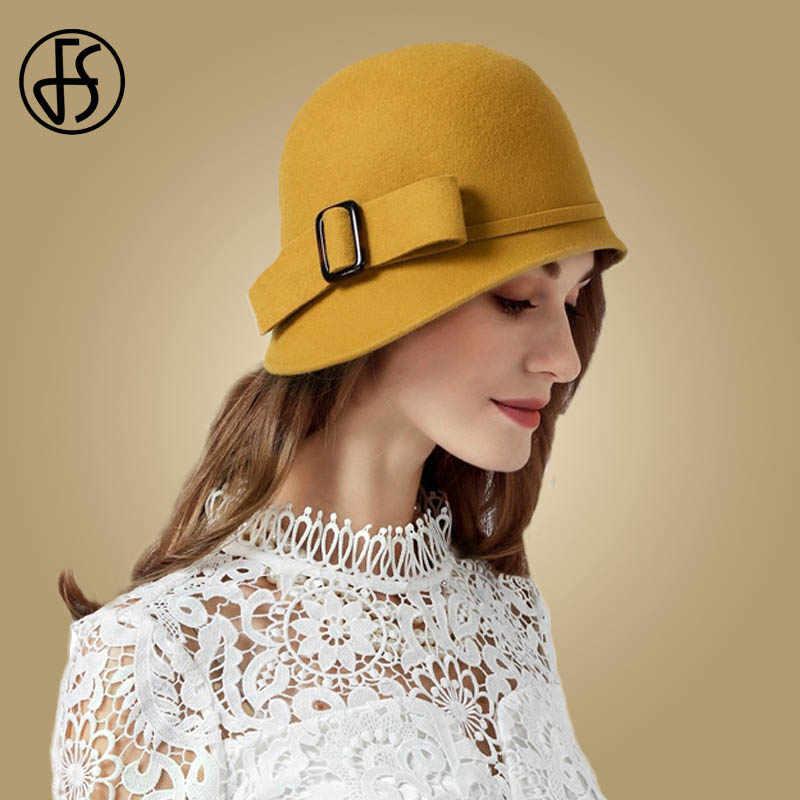 FS Vintage Hitam Wol Merasa Cloche Topi dengan Ikatan Simpul Lebar Pinggir Musim Dingin Fedoras Wanita Kuning Biru Floppy Derby Topi cap
