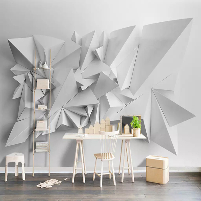 Us 11 66 26 Off Aliexpress Com Buy Custom Wallpaper For Walls 3d White Triangle Geometric Pattern Art Wall Painting Living Room Sofa Tv Background
