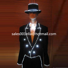 New Design MJ Style LED Luminous Women Costume Growing Light Up Halloween DS DJ Party Tuxedo Suit For Women Stage Clothes