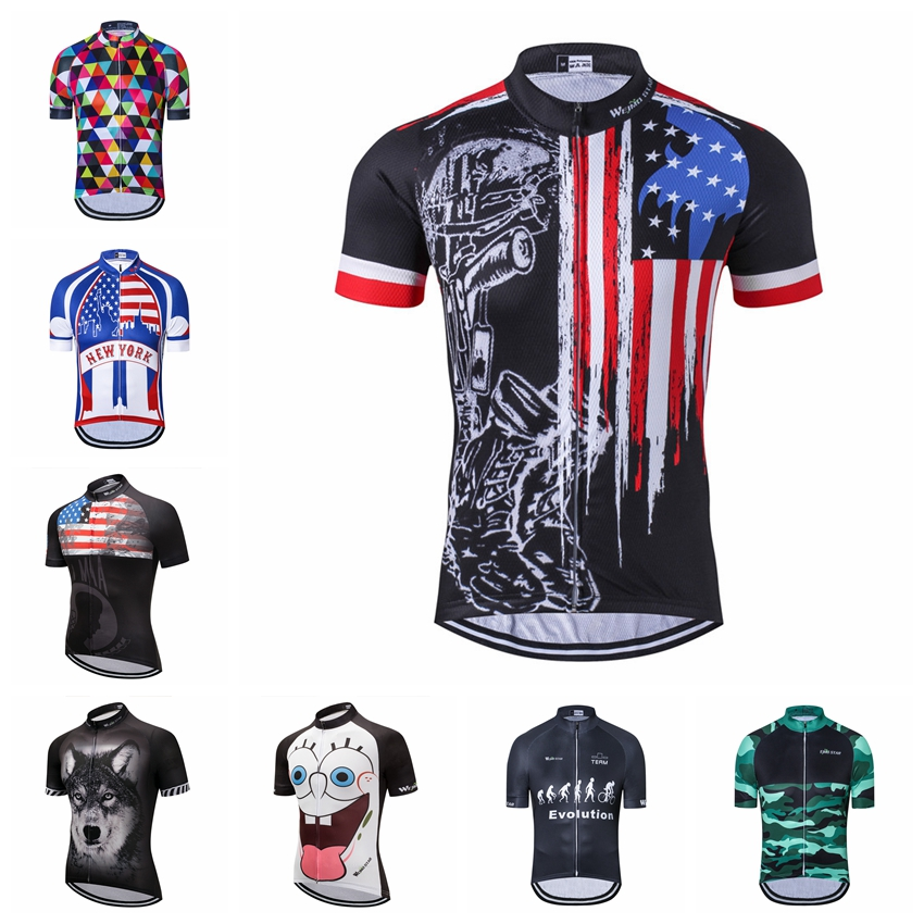 Weimostar USA Cycling Jersey mens mtb Jerseys road Bike bicycle shirts Short Sleeve Ropa Ciclismo maillot Racing tops skull red