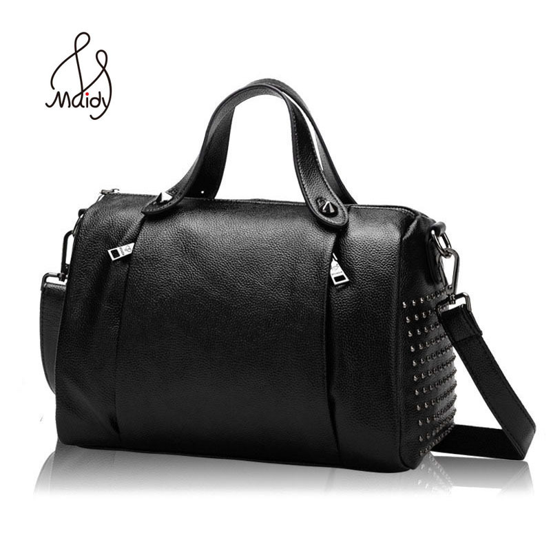 Women Cow Leather Handbags Famouse Brand Bags Designer Genuine High Quality Large Capacity Soft Leather Rivet Hand Bag Shoulder famous brand women shoulder bags high quality female bag large capacity genuine leather women handbags designer ladies bags