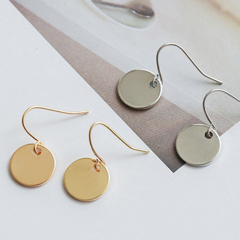 Drop Earrings Women Gold Silver Disc Earring Simple Jewelry ...