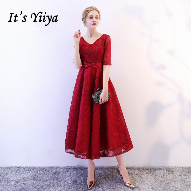 It's YiiYa Evening Dress V-neck Short Sleeve Tea Length Simple Formal Dresses Wine Red Lace Up Bow Elegant Party Gown  E106