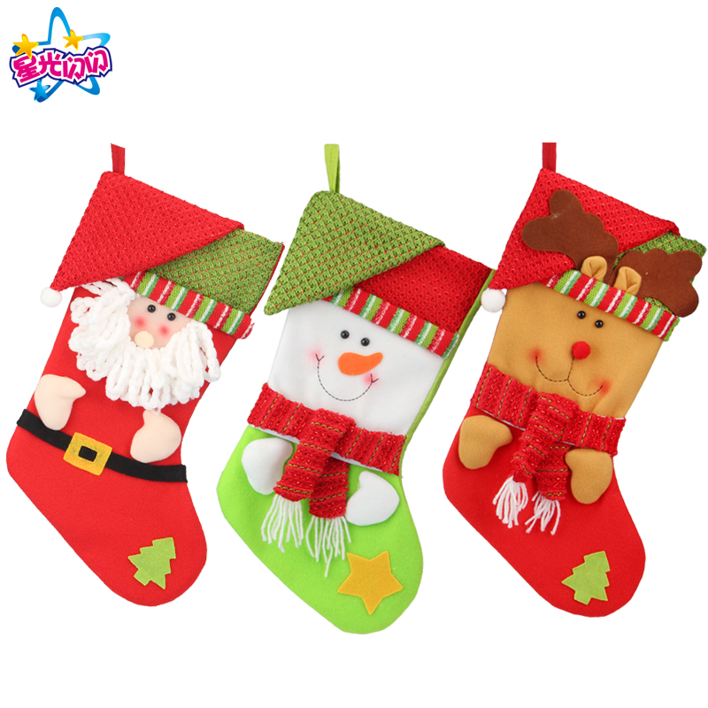 2018 Christmas Stocking Santa Claus/Snowman/Deer Sock Gift Xmas Tree Decorations Big Christmas For Home Stockings Decorations