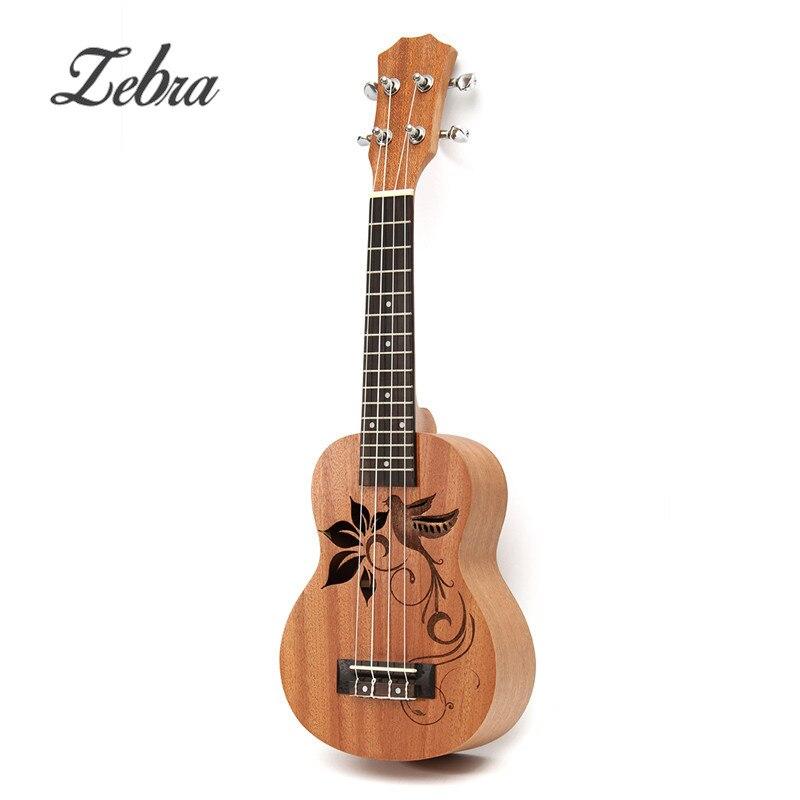 Zèbre marque 21 pouces 15 frettes 4 cordes Soprano Sapele Mini ukulélé Uke oiseau fleur palissandre guitare à cordes Instruments de musique