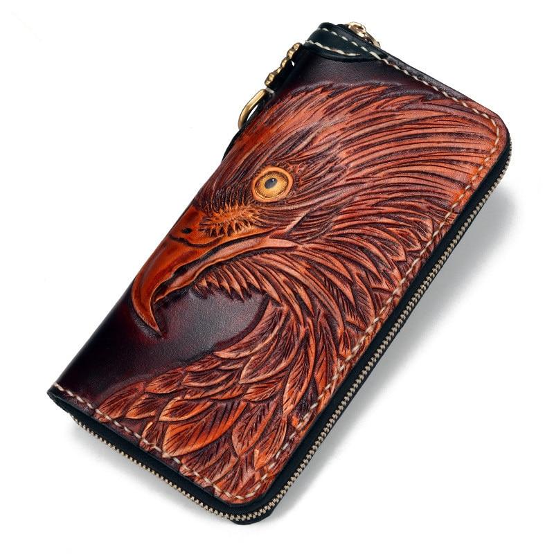 Man Genuine Leather Wallets Carving Eagle Bag Purses Men Long Clutch Vegetable Tanned Leather Card Holder Wallet Boyfriend Gif