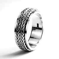925 Sterling Silver Jewelry Handmade Rotatable Rings For Men And Women Vintage Thai Silver Hemp Rope