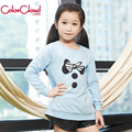 Girls T-shirt  Top Quality Cotton Thick Blue Pink Spring Autumn Full Sleeve Long TShirt Kid Clothes 130-160CM Child Tees GH053