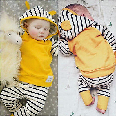 2PCS Toddler Kids Clothes Newborn Baby Boys Girl 3D Hooded Tops Sweatshirt + Striped Pants Outfit Clothing Set 0-3Y girls tops cute pants outfit clothes newborn kids baby girl clothing sets summer off shoulder striped short sleeve 1 6t