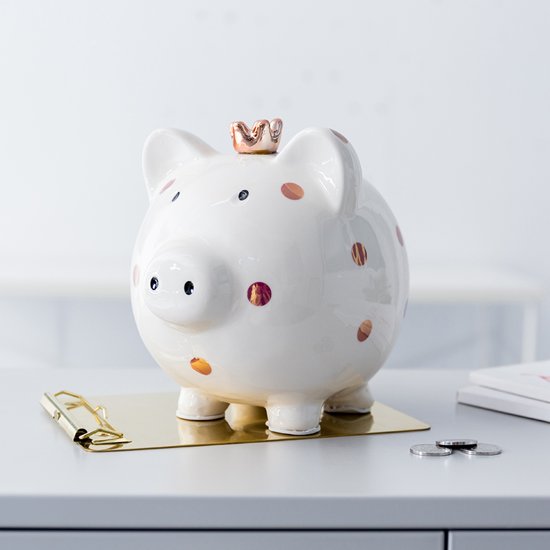 Ceramic Pig Bank Piggy Coin Wearing a crown spotted pig money box Children Birthday Livingroom Bedroom TV Cabinet Home Decor