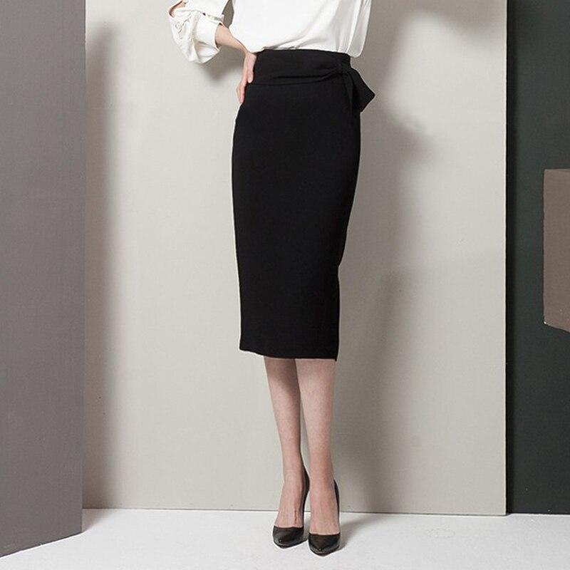 Livraison gratuite 2019 nouvelle mode longue genou longueur jupes femmes printemps et automne coton jupe S-2XL noir taille haute jupes formelles