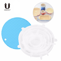 Uarter 6PCS Reusable Silicone Stretch Lids Stretchable Food Fresh Saving Covers Food Saving Lids For Preserving Leftover