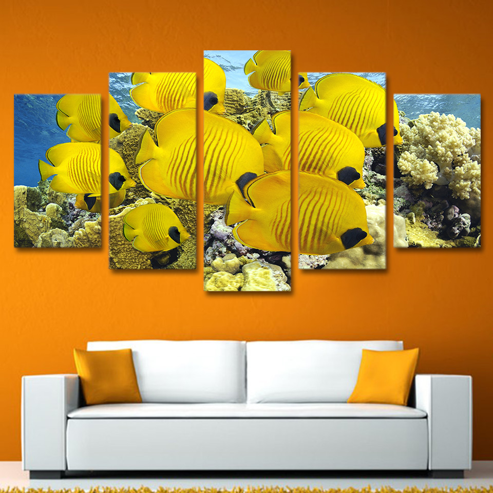 5 Piece Canvas Art Coral Marine Fish Painting Canvas Print room ...