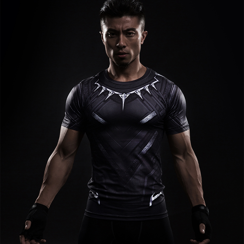 Black Panther 3D Printed T-shirts Men Compression Shirt Captain America Short Sleeve Cosplay Halloween Costume For Men Tops Male