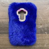 Rabbit Fur Case For Huawei P9 Plus 5.5Luxury Bling Diamond Winter Soft Warm Back Cover Coque Capa Lady Pink Women Man Case Gift